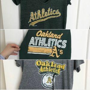 Lot of 3 Oakland Athletics women's shirts/tanks, L